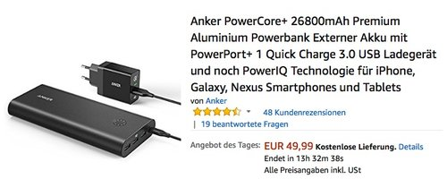 Anker PowerCore+ 26800mAh Premium Aluminium Powerbank - jetzt 16% billiger