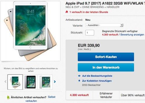 Apple iPad 9.7 (2017) 32GB - jetzt 6% billiger