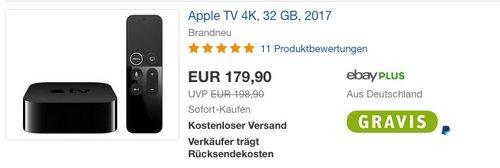 Apple TV 4K 32GB - jetzt 5% billiger