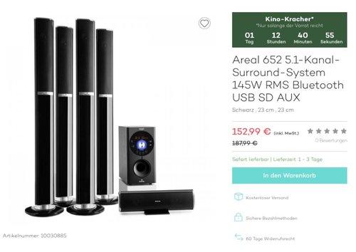 auna Areal 652 5.1-Surround Sound-System - jetzt 19% billiger