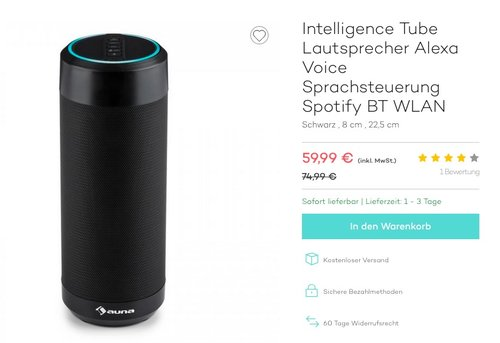 auna Intelligence Tube Bleutooth Lautsprecher - jetzt 10% billiger