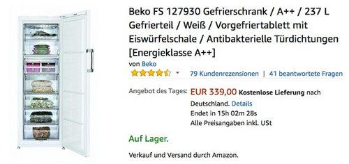 Beko FS 127930 Gefrierschrank - jetzt 12% billiger