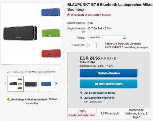 BLAUPUNKT BT 6 Bluetooth Lautsprecher - jetzt 32% billiger