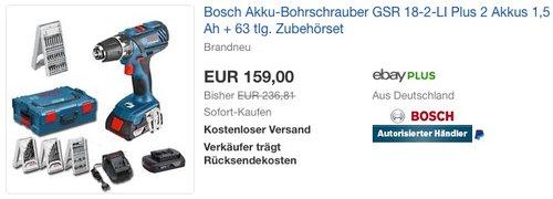 Bosch Akku-Bohrschrauber GSR 18-2-LI Plus, 2 Akkus, 63 tlg. Zubehörset - jetzt 12% billiger