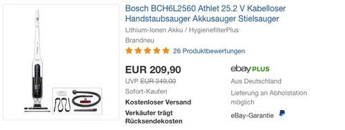 Bosch Athlet BCH6L2560 Kabelloser Handstaubsauger - jetzt 9% billiger