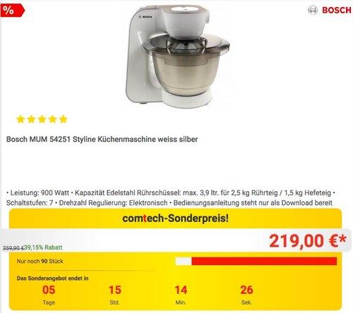 Bosch MUM 54251 Styline Küchenmaschine  - jetzt 6% billiger