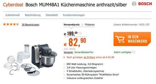 Bosch MUM48A1 Küchenmaschine - jetzt 8% billiger