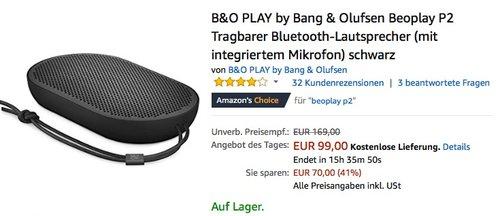 B&O PLAY by Bang & Olufsen Beoplay P2 Tragbarer Bluetooth-Lautsprecher - jetzt 19% billiger
