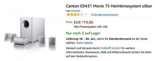 Canton Movie 75 Heimkinosystem silber  - jetzt 8% billiger