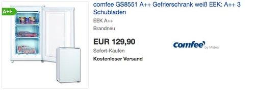 comfee GS8551 A++ Gefrierschrank - jetzt 31% billiger