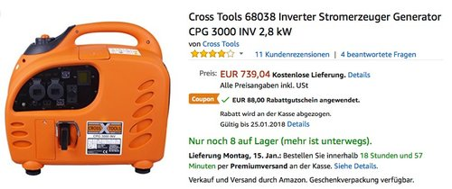 Cross Tools CPG 3000 INV Inverter Stromerzeuger - jetzt 12% billiger