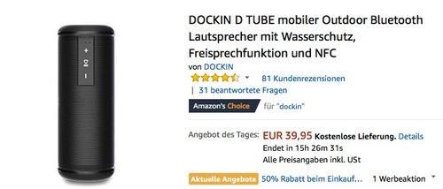 DOCKIN D TUBE mobiler Outdoor Bluetooth Lautsprecher  - jetzt 26% billiger