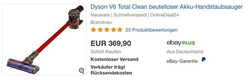 Dyson V6 total Clean Akku Staubsauger - jetzt 14% billiger