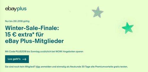 Ebay Winter-Sale-Finale: 15 € extra ab 50€ Mindestbestellwert bis zum 28.01.18 - jetzt 30% billiger