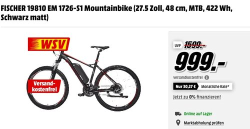 FISCHER 1726 Mountainbike - jetzt 30% billiger