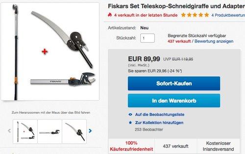 Fiskars Teleskop-Schneidgiraffe mit Adapter-Baumsäge - jetzt 30% billiger