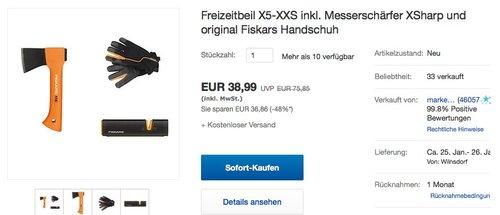 Freizeitbeil X5-XXS inkl. Messerschärfer XSharp und original Fiskars Handschuh - jetzt 15% billiger