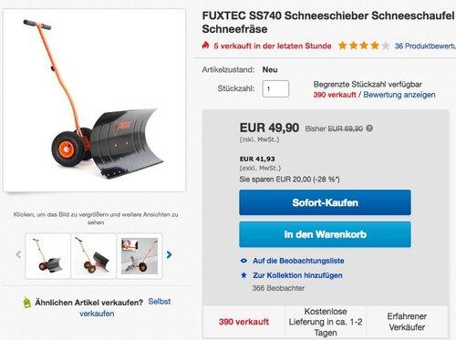 FUXTEC Schneeschaufel Schneeschieber mit Rädern - jetzt 29% billiger