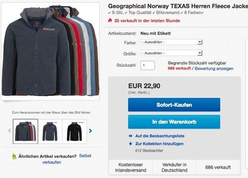 Geographical Norway TEXAS Herren Fleece Jacke Fleecejacke - jetzt 8% billiger