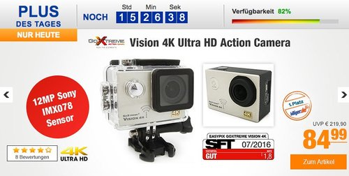 GoXtreme Vision 4K Ultra HD Action Camera - jetzt 11% billiger