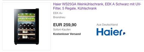 Haier WS25GA Weinkühlschrank - jetzt 35% billiger