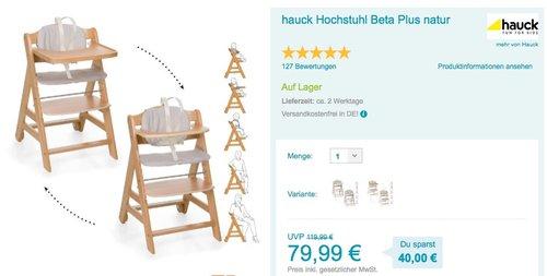 hauck Hochstuhl Beta Plus Natur - jetzt 11% billiger