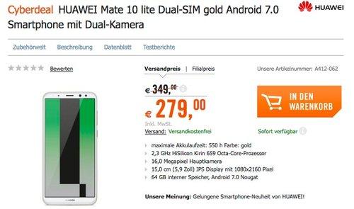 HUAWEI Mate 10 lite Smartphone Dual-SIM gold - jetzt 13% billiger