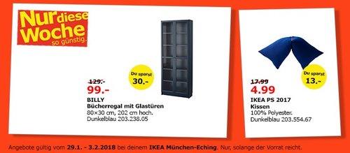 IKEA BILLY Bücherregal mit Glastüren dunkelblau - jetzt 23% billiger