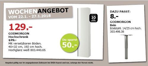 IKEA GODMORGON Hochschrank - jetzt 28% billiger