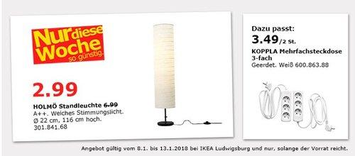 IKEA HOLMÖ Standleuchte  - jetzt 57% billiger