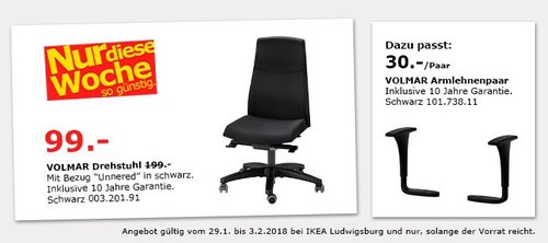 IKEA VOLMAR Drehstuhl - jetzt 50% billiger