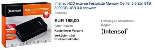 Intenso Memory Center 8TB - jetzt 6% billiger
