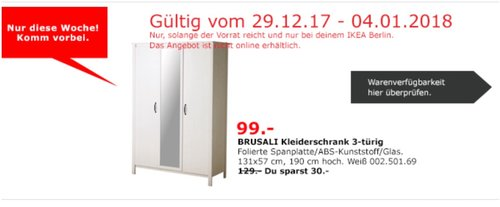 IKEA BRUSALI Kleiderschrank  - jetzt 23% billiger