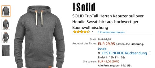 SOLID TripTall Herren Kapuzenpullover  - jetzt 25% billiger