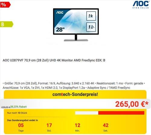 AOC U2879VF 28 Zoll 4K Monitor - jetzt 7% billiger