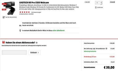 Logitech C920 HD Pro Webcam - jetzt 39% billiger