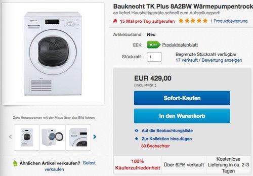 Bauknecht TK Plus 8A2BW Wärmepumpentrockner - jetzt 11% billiger