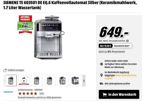 SIEMENS TE 603501 DE EQ.6 Kaffeevollautomat - jetzt 6% billiger