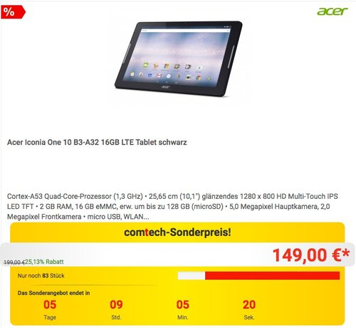 Acer Iconia One 10 B3-A32 16GB LTE Tablet - jetzt 10% billiger