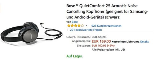 Bose QuietComfort 25 Acoustic Noise Cancelling Kopfhörer Android - jetzt 15% billiger