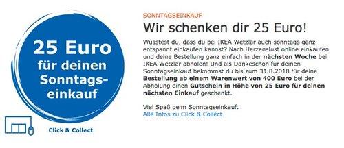 25 € Gutschein ab einem Warenwert von 400 € Sonntageinkauf (Click & Collect) - jetzt 6% billiger