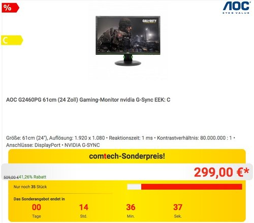 AOC G2460PG 24 Zoll Gaming-Monitor - jetzt 19% billiger