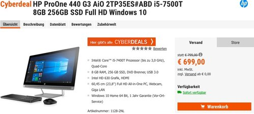 HP ProOne 440 G3 All-in-One PC - jetzt 12% billiger