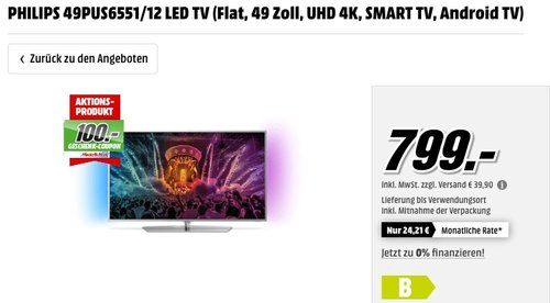 PHILIPS 49PUS6551/12 49 Zoll LED TV - jetzt 8% billiger