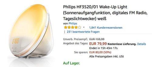Philips HF3520/01 Wake-Up Light (Sonnenaufgangfunktion, digitales FM Radio, Tageslichtwecker) - jetzt 19% billiger