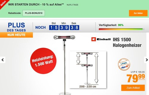 Einhell IHS 1500 Halogenheizer - jetzt 28% billiger