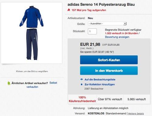 adidas Herren Trainingsanzug Sereno 14 - jetzt 29% billiger