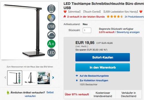 B.K.Licht LED Dimmbar Tischlampe - jetzt 20% billiger