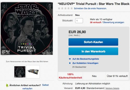 Star Wars Trivial Pursuit - jetzt 18% billiger