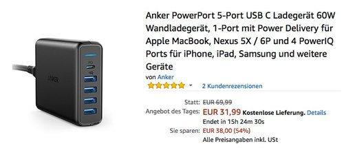 Anker PowerPort 5-Port USB C Ladegerät 60W Wandladegerät - jetzt 20% billiger